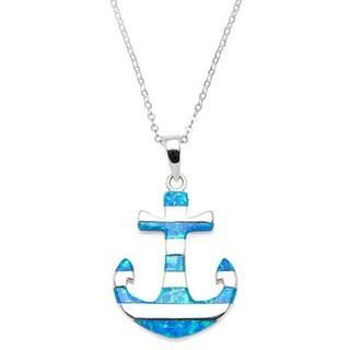 La Preciosa Sterling Silver Created Blue Opal Striped Anchor Pendant