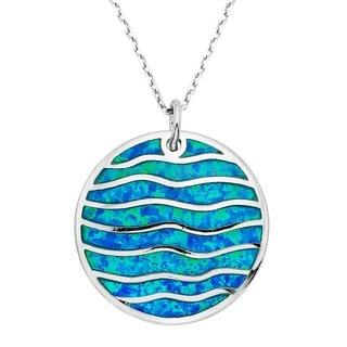 La Preciosa Sterling Silver Created Blue Opal Striped Circle Necklace