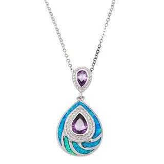 La Preciosa Sterling Silver Created Blue Opal and CZ Teardrop Pendant