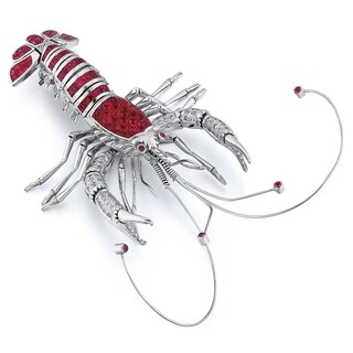 18K White Gold Ruby Diamond 4/5ct TDW Lobster Pin (G-H, SI1-SI2)