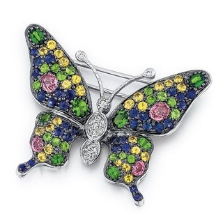18K White Gold High Polish Sapphire Diamond 1/5ct. TDW Butterfly Pin (G-H, SI1-SI2)