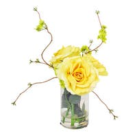 Yellow Roses with Viburnum in Acrylic Water Filled Glass Vase - CLEAR