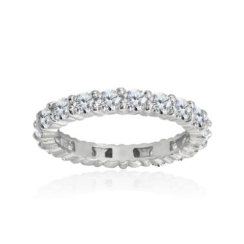 ICZ Stonez 100 Facets Cubic Zirconia Sterling Silver Eternity Ring
