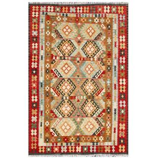 Herat Oriental Afghan Hand-woven Tribal Kilim Gold/ Red Wool Rug (5'6 x 8'1)