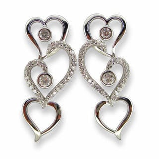 Kabella Triple Heart Link CZ Sterling Silver Earrings