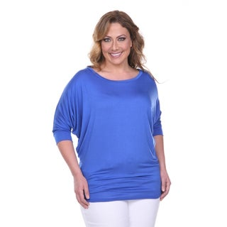 White Mark Women's Plus Size Wide Neck Tunic