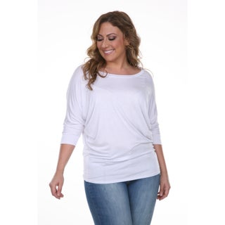 White Mark Women's Plus Size Wide Neck Tunic