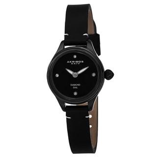 Akribos XXIV Women's Quartz Diamond Markers Leather Black Strap Watch with FREE GIFT