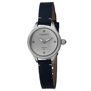 Akribos XXIV Women's Quartz Diamond Markers Leather Blue Strap Watch