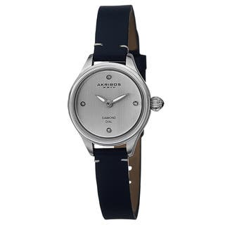 Akribos XXIV Women's Quartz Diamond Markers Leather Blue Strap Watch with FREE GIFT|https://ak1.ostkcdn.com/images/products/9831418/P16995340.jpg?impolicy=medium