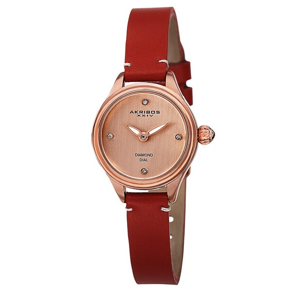 Akribos XXIV Women's Quartz Diamond Markers Leather Red Strap Watch