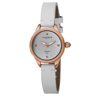 Akribos XXIV Women's Quartz Diamond Markers Leather White Strap Watch