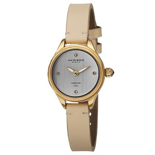 Akribos XXIV Women's Quartz Diamond Markers Leather Gold-Tone Strap Watch with GIFT BOX
