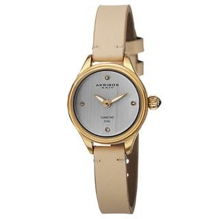 Akribos XXIV Women's Quartz Diamond Markers Leather Gold-Tone Strap Watch
