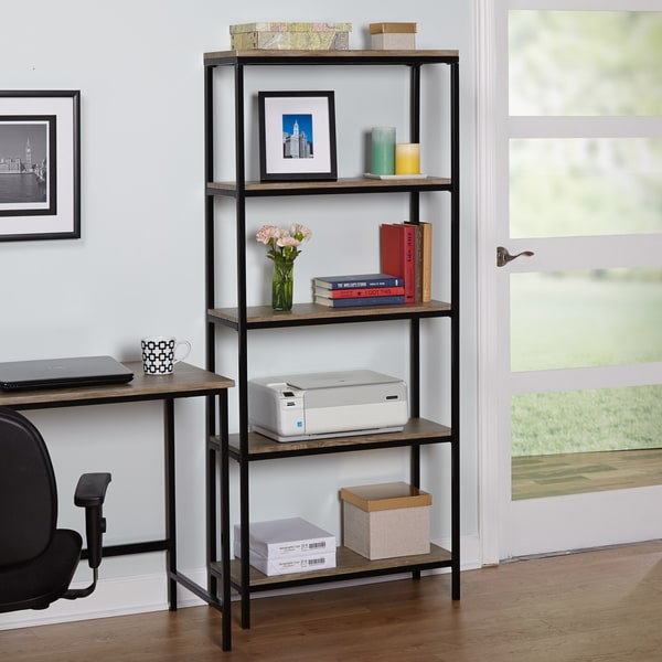 Simple Living Piazza 5 Tier Wood And Metal Bookshelf