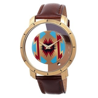 Akribos XXIV Men's Swiss Quartz Retro Style Transparent Dial Leather Strap Watch with FREE GIFT