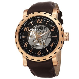 Akribos XXIV Men's Automatic Movement Tachymeter Skeleton Dial Leather Rose-Tone Strap Watch