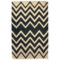 Kosas Home Handwoven Leo Indoor Outdoor Black Recycled Plastic Rug - 5' x 8'