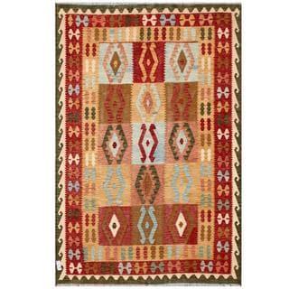 Herat Oriental Afghan Hand-woven Tribal Wool Kilim (6'7 x 9'6)