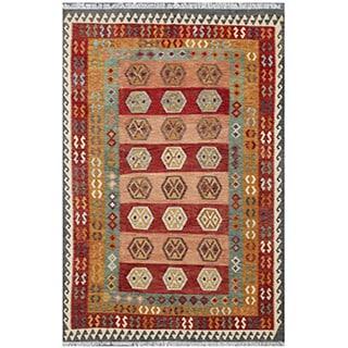 Herat Oriental Afghan Hand-woven Tribal Kilim Green/ Gray Wool Rug (6'6 x 9'7)