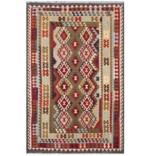 Herat Oriental Afghan Hand-woven Tribal Kilim Brown/ Black Wool Rug (6'4 x 9'9)