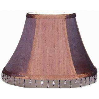 Crown Lighting Dark Brown Oval Shantung Silk Double Lined Lamp Shade with Bead Trim