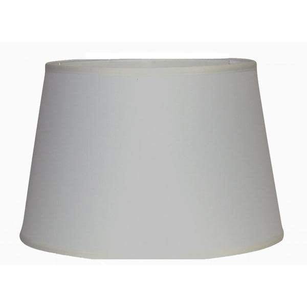 Crown Lighting Off White Linen Hardback Modified Drum Lamp Shade with Self Trim