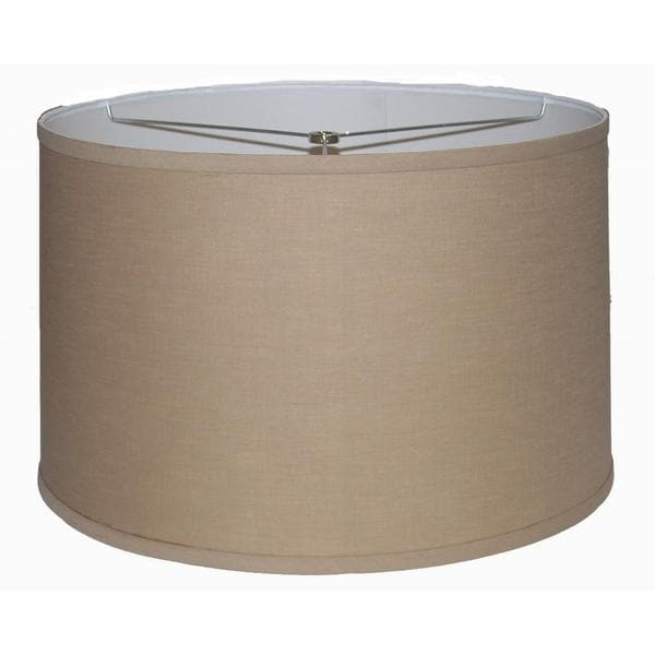 Crown lighting khaki extra large linen hardback drum lamp for Wide drum lamp shade
