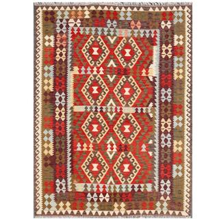 Herat Oriental Afghan Hand-woven Tribal Wool Kilim (5'6 x 7'6)