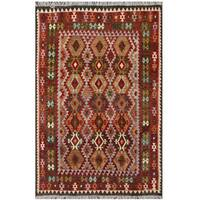 Herat Oriental Afghan Hand-woven Tribal Wool Kilim (6'7 x 9'7) - 6'7 x 9'7