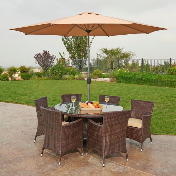 The Hom Caso 8 Piece Outdoor Wicker Dining Set Free Shipping Today Overstock Com 16995390