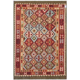 Herat Oriental Afghan Hand-woven Tribal Kilim Beige/ Green Wool Rug (6'9 x 9'8)