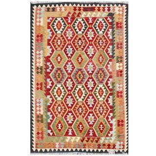 Herat Oriental Afghan Hand-woven Tribal Kilim Red/ Black Wool Rug (6'6 x 9'6)