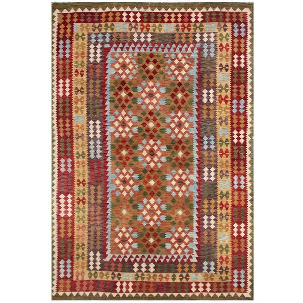 Herat Oriental Afghan Hand-woven Tribal Wool Kilim - 8' x 11'4
