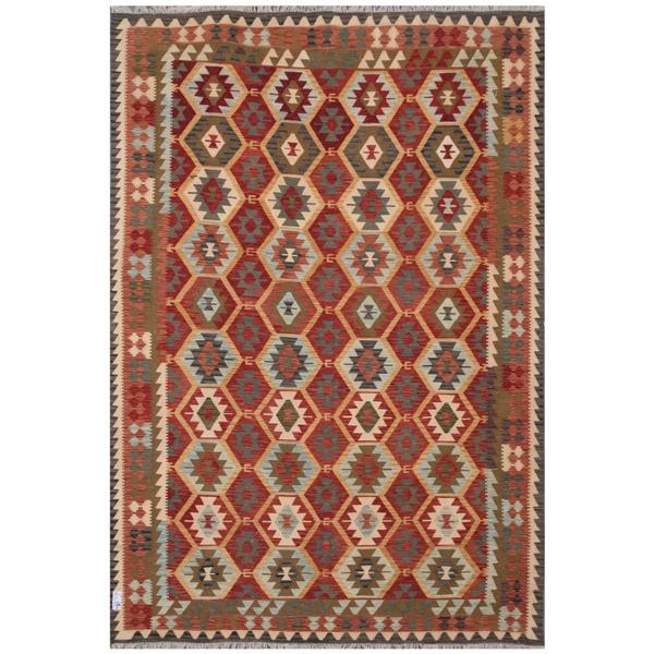 Herat Oriental Afghan Hand-woven Tribal Wool Kilim (7'11 x 11'5)