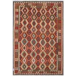 Herat Oriental Afghan Hand-woven Tribal Kilim Red/ Black Wool Rug (7'11 x 11'5)