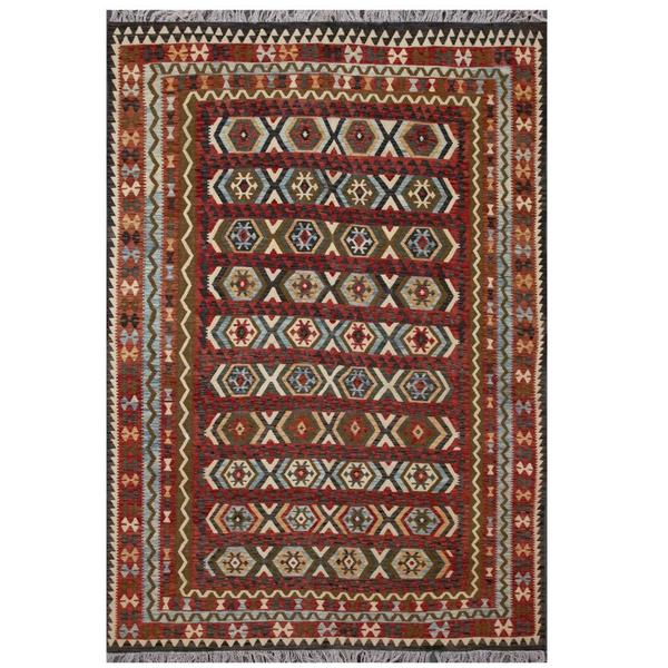 Herat Oriental Afghan Hand-woven Tribal Wool Kilim (8'1 x 11'2) - 8'1 x 11'2