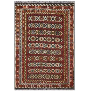 Herat Oriental Afghan Hand-woven Tribal Kilim Green/ Black Wool Rug (8'1 x 11'2)