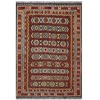Herat Oriental Afghan Hand-woven Tribal Wool Kilim (8'1 x 11'2)