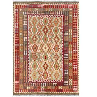 Herat Oriental Afghan Hand-woven Tribal Kilim Beige/ Olive Wool Rug (8'4 x 11'6)