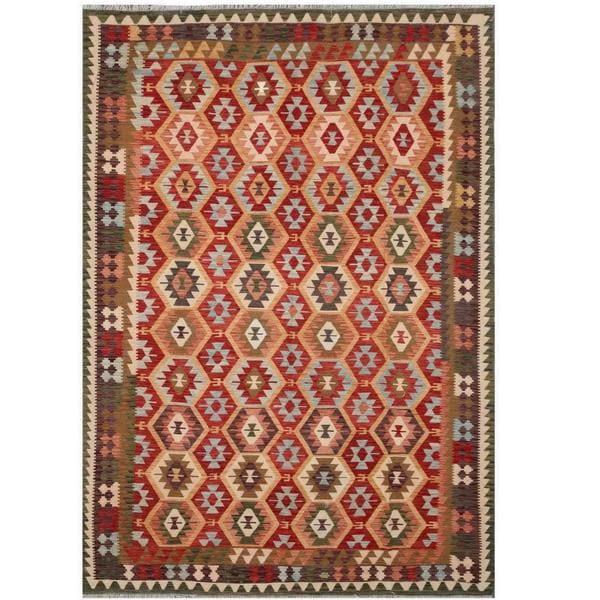 Handmade Herat Oriental Afghan Tribal Wool Kilim - 8'3 x 11'5 (Afghanistan)