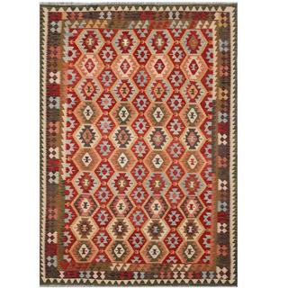 Herat Oriental Afghan Hand-woven Tribal Kilim Red/ Green Wool Rug (8'3 x 11'5)