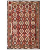 Herat Oriental Afghan Hand-woven Tribal Wool Kilim - 7'11 x 11'5
