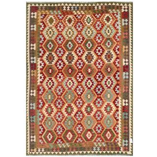 Herat Oriental Afghan Hand-woven Tribal Kilim Red/ Green Wool Rug (7'10 x 11'4)