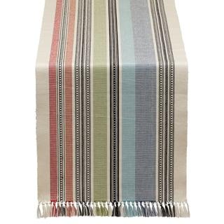 Mediterranean Stripe Fringed Table Runner