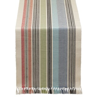 Mediterranean Stripe Fringed Table Runner