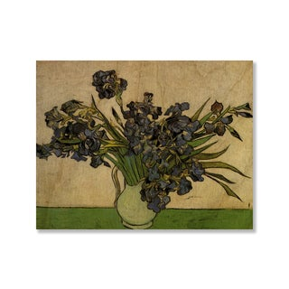 Gallery Direct Vincent Van Gogh's 'Vase with Irises' Print on Wood