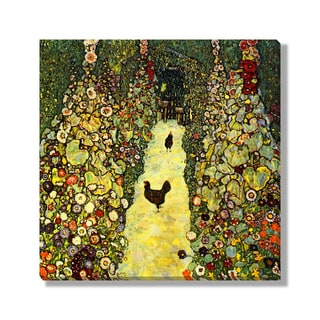 Gallery Direct Gustave Klimt's 'Garden Path with Chickens' Gallery Wrapped Canvas