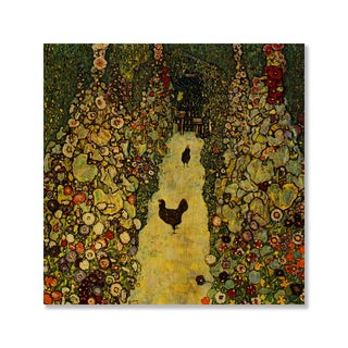 Gallery Direct Gustav Klimt's 'Garden Path with Chickens' Print on Wood