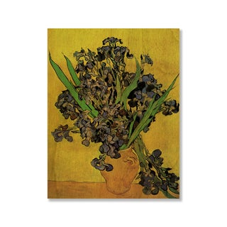 Gallery Direct Vincent Van Gogh's 'Vase with Irises Against a Yellow Background' Print on Wood
